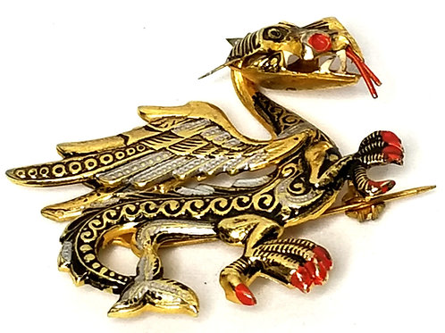 Designer by Nics, brooch, dragon motif, multi color in gold tone, 1 1/2 inches.