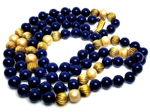 Designer by provenance, necklace, blue, gold tone and faux pearl beads, 32 inch.