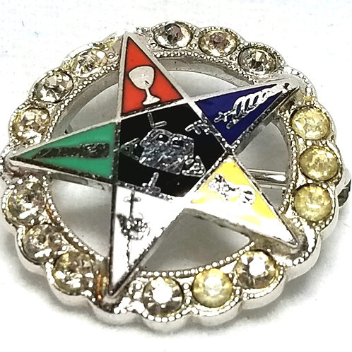 Designer by provenance, pin, Masonic motif, multi color with crystals.