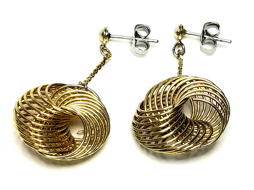 Designer by provenance, earrings, pierced post dangles, spirals, gold tone.