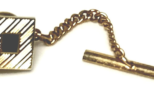 Designer by Provenance, tie tack with chain, brushed gold tone, 3/8 inch.