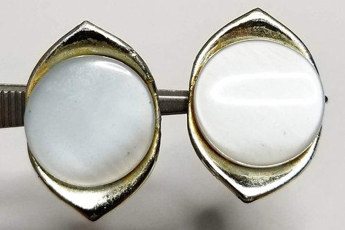 Designer by Karu, earrings, clip on opalescent white silver tone pot metal.