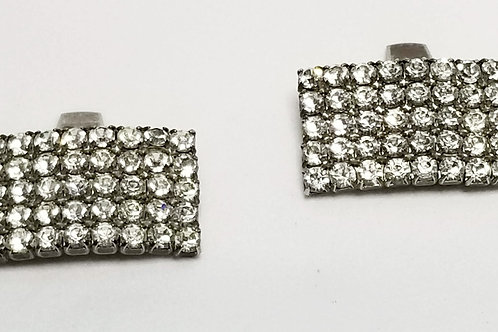Designer by Bluette, shoe clips, rhinestone with silver tone.