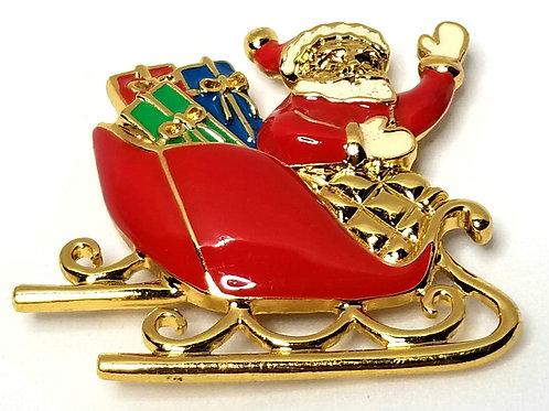 Designer by Avon, brooch, Santa motif, multi color enamel in gold tone.