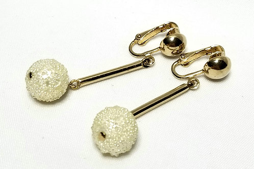 Designer By Sarah Cov, earrings, dangle, white faux pearl beads in gold tone.