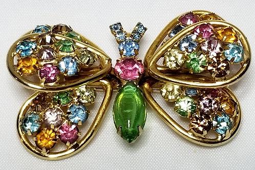 Designer by Judy Lee, brooch, butterfly motif, multi colored rhinestones