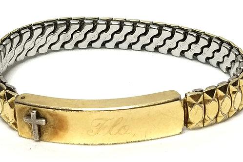 "Designer by Speidel, bracelet, stretch, engraved cross motif, ""Flo""."