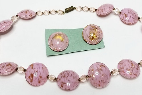Designer by Murano, necklace, pink with gold foil in gold tone pot meta