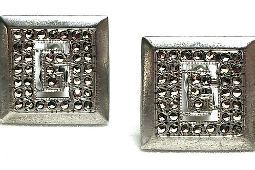 Designer by Provenance, cuff links, initial G motif, Sterling, 1/2 inch square.