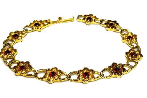 Designer by provenance, bracelet, flower motif, red stones, gold tone, 7 1/2 in.
