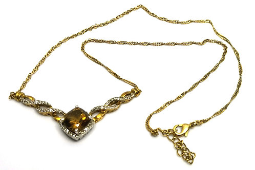 Designer by provenance, neck wear, necklace, brown stones in gold tone, 18 inch.
