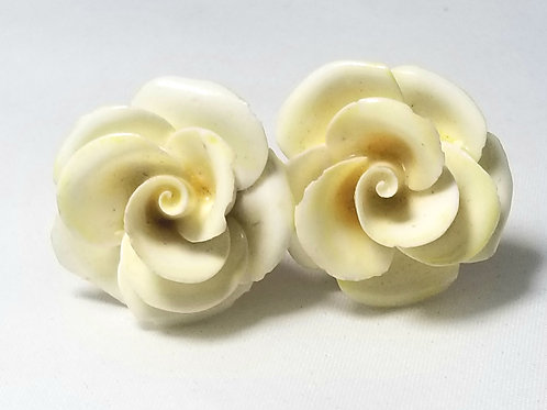 Made in England earrings, vintage white roses with gold tone clip-on backs