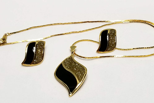 Designer by Royal, set, necklace and pierced post earrings, black and gold.