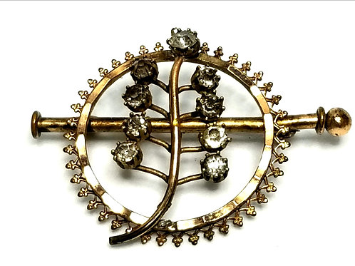 Designer by provenance, brooch, leaf motif, clear rhinestones, gold tone.