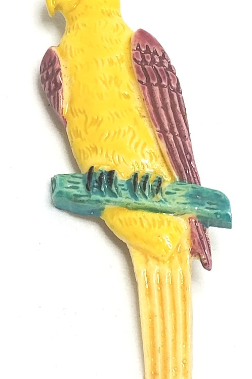 Designer by Provenance, brooch, parrot motif, multi color enamel in silver tone.