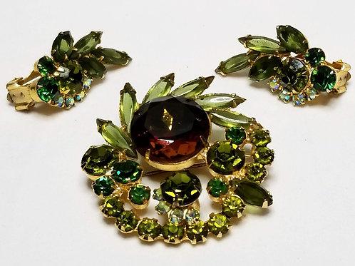 Designer by Juliana, set, brooch and earrings, multi colored rhinestones cluster