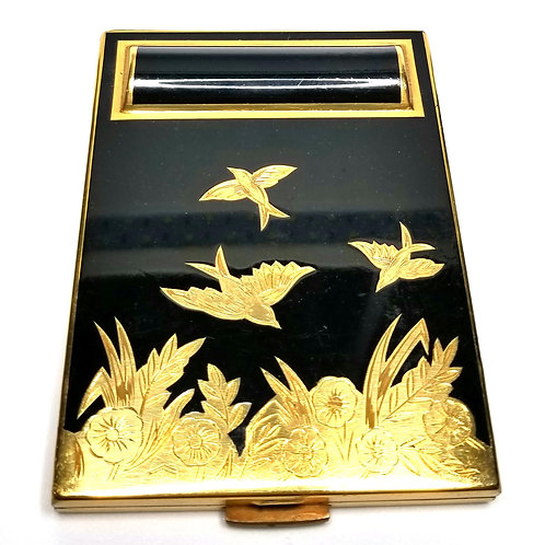 Designer by provenance, make up kit, Asian motif, black and gold tone.