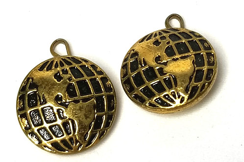 Designer by Provenance, cuff links, World Atlas motif, black inlay in gold tone.