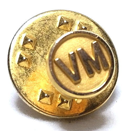 Designer by CTO, tie tack/pin, initials VM motif, gold tone, 1/4 inch.