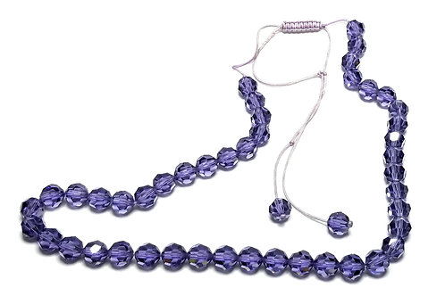 Designer by provenance, necklace, choker, purple faceted beads, purple cord.