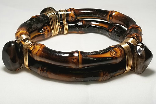 Designer by provenance, bracelet, brown and black bamboo bangle with black stone