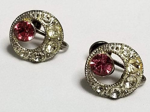 Designer by Nemo, earrings, pink rhinestone gold tone pot metal