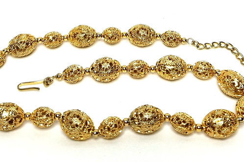 Designer by Napier, necklace, choker, gold tone filigree beads.