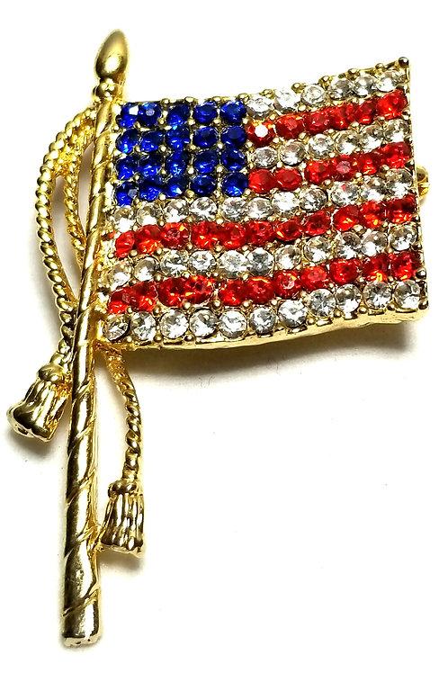 Designer by provenance, brooch, US flag motif, multi color rhinestones.