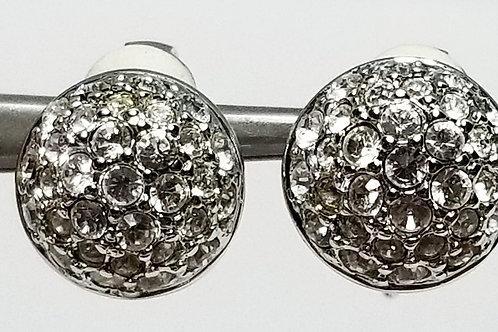 Designer by Vonelle, earrings, clear rhinestone clip on silver tone pot metal.