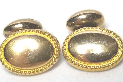 Designer by provenance, cuff links, 10K gold ovals.