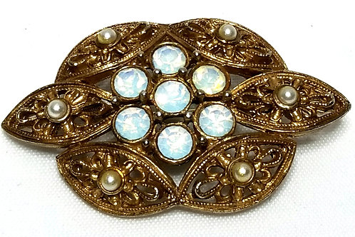 Designer By Sarah Cov, brooch, white faux pearls and iridescent crystals.