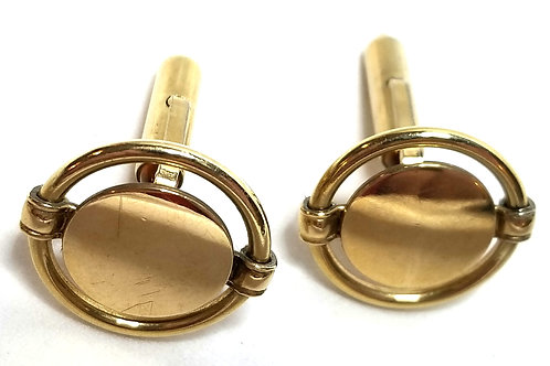 Designer by Krementz, cuff links, round, gold tone, 3/4 inch.