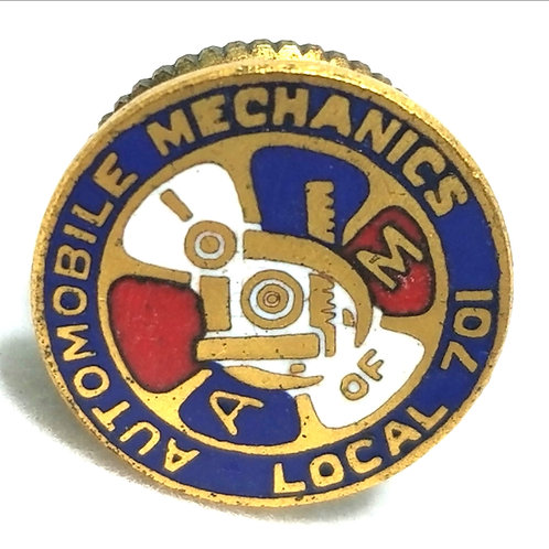 Designer by Green Duck Co., Lapel pin, Auto Mechanics Chicago motif, gold tone.