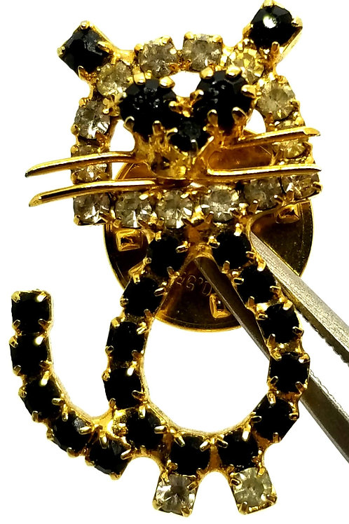 Designer by provenance, brooch/pin, cat motif, black and clear rhinestones.