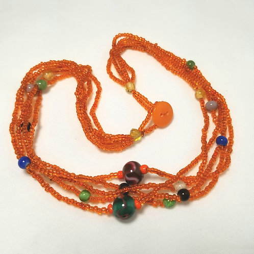Designer by provenance, orange and multi-colored beaded necklace, 16 1/2 inches