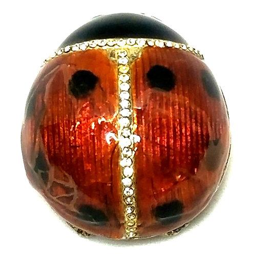 Designer by MMA/CMA, pendant/locket, ladybug motif, red and black, rhinestones.