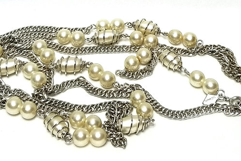 Designer by Sarah Cov, necklace, 50 inch white faux pearls in silver tone.