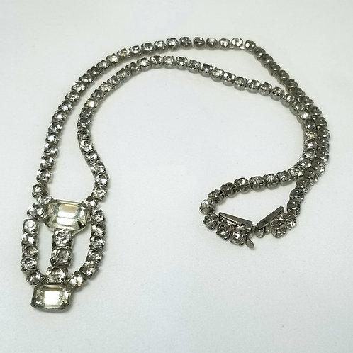 Neck wear, rhinestone choker necklace, 15 inches, silver tone