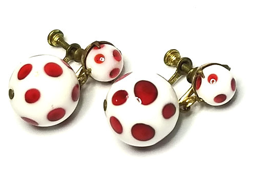 Designer by provenance, earrings, screw backs, red and white balls, gold tone.