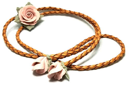 Designer by provenance, Bolo tie, tan leather, pink clay roses, silver tone.