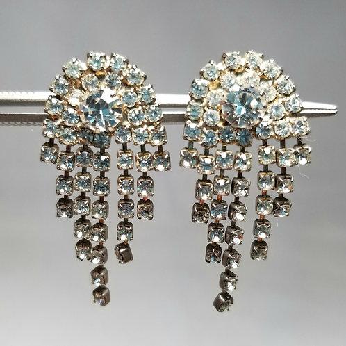 Earrings, rhinestone earrings, designer by provenance, 1 1/2 inches, silver tone