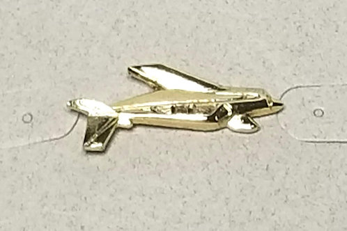 Designer by Provenance, tie tack, airplane motif, gold tone, 7/8 x 1/4 inch.
