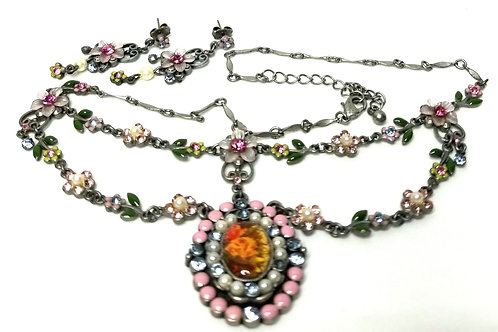 Designer by Avon, set, necklace and earrings, flower motif, multi-colored.