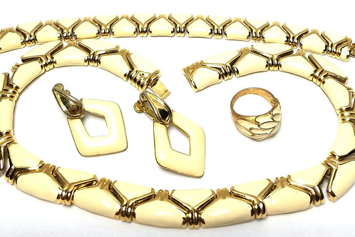 Designer by Goldette, necklace, earrings, ring, cream enamel in gold tone