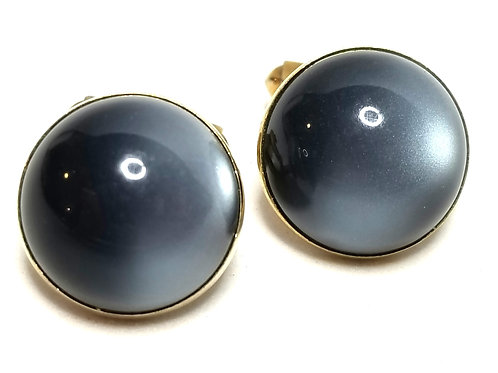 Designer by Swank, cuff links, gray cabochon stones, in gold tone, 3/4 inch