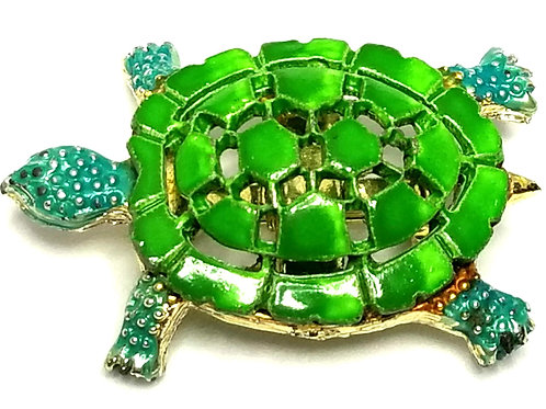 Designer by provenance, brooch, turtle motif, green and blue, gold tone.