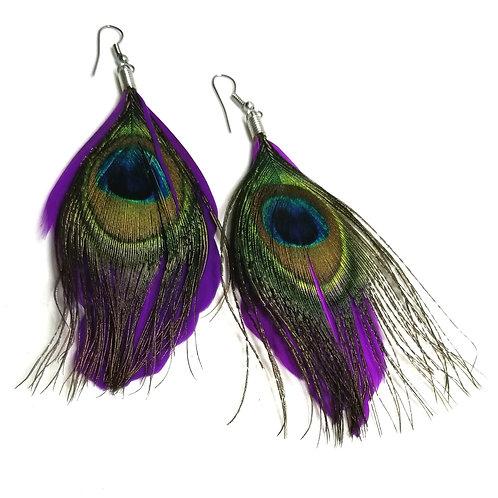 Designer by provenance, earrings, dangles, peacock feathers motif, purple.