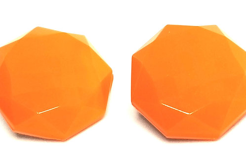 Designer by provenance, earrings, clip on orange octagonal, 1 inch.