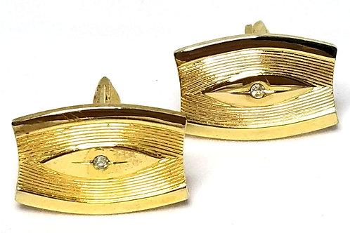 Designer by Provenance, cuff links, clear rhinestones in gold tone, 5/8 x 7/8 in