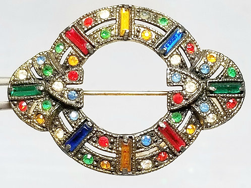 Designer by provenance, brooch, multi-colored crystals 1 5/8 inch